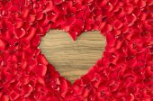 Heart Shaped Hole In Rose Petals - Love And Valentine Background