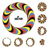 Set of abstract 3d vector icons such emblems. 3d bracelets/rings. Abstract geometric shape. Optical