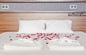 Romantic Bedroom In A Spa Hotel - Rose Petals And Dressing Gowns On A Bed