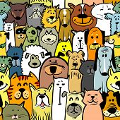 stock photo of domestic cat  - Cartoon doodle dogs and cats seamless pattern - JPG