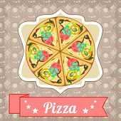 Retro Poster With Pizza And Straight Ribbon
