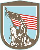 American Revolutionary Serviceman Horse Flag Retro