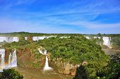 Waterfalls in Brazil. Fantastically spectacular boiling and thundering waterfalls of Iguazu