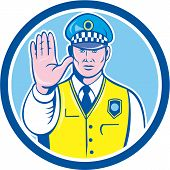 Traffic Policeman Hand Stop Sign Circle Cartoon