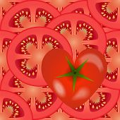 Sliced Tomato Vegetables With A Tomato Heart