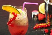 Pink Coktail With Redcurrant And Melon