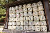 KYOTO, JAPAN - APRIL 19th : Dedicated all kinds of Sake to Fushimi-Inari in Heian Jingu Shrine., Kyoto,  Japan. on 19th April 2014.