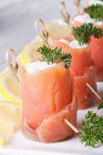 Delicious Rolls With Salmon And Cream Cheese Vertical