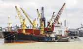 picture of coal barge  - Cargo ship loading in the port - JPG