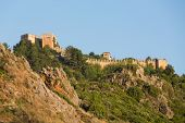 stock photo of cleopatra  - The castle in Alanya built on the hill above the beach of Cleopatra. Turkey