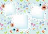pastel background with lace frames