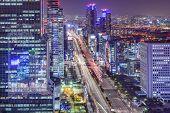 Seoul, South Korea cityscape at Teheranno District at night.