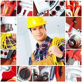 stock photo of electrician  - Young smiling builder electrician and set of tools - JPG