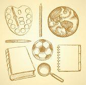 Sketch Education Set In Vintage Style