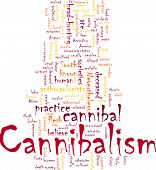 image of cannibalism  - Word cloud concept illustration of cannibalism cannibal - JPG