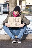 Homeless Young Man Looking For A Job