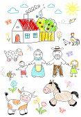 Sketch - happy children with grandparents