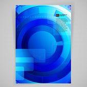 Abstract blue background with techno elements. Vector card.