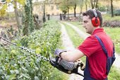 stock photo of trimmers  - Man Working With Hedge Trimmer in a garden - JPG