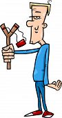 pic of hooligan  - Cartoon Illustration of Hooligan or Rascal with Slingshot - JPG