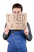 stock photo of unemployed people  - Unemployed factory worker looking for a job - JPG