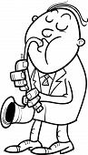 Man With Saxophone Coloring Page
