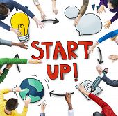 Aerial View of People and Startup Business Concepts