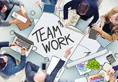 Group of People Meeting with Teamwork Concept in Photo and Illustration