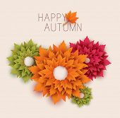paper autumn leaves abstract background - vector
