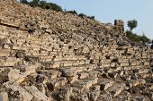 stock photo of dalyan  - Kaunos amphitheatre in Dalyan Town, Aegean Turkey