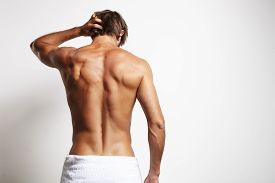 foto of bum  - perfect fit man from the back in the white towel - JPG