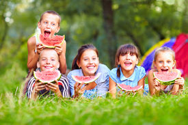 stock photo of eat grass  - group of happy kids eating watermelons lying on grass