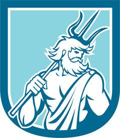 stock photo of poseidon  - Illustration of Roman god of sea Neptune or Poseidon of Greek mythology holding a trident set inside shield crest on isolated background done in retro style - JPG