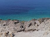 pic of rough-water  - The rough coast and the azure blue water of the Adriatic sea in Croatia - JPG
