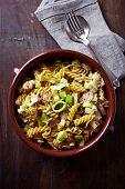 Fusilli pasta baked with mushrooms, leek and mascarpone sauce