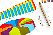 Business Picture: Financial Graphs And Pen