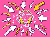 Illustration Of Arrows Point To Icon Of Headphones On Pink Background.