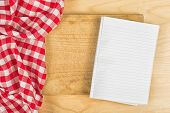 Checkered Tablecloth On Wooden Background