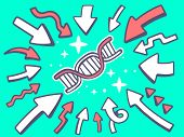 Illustration Of Arrows Point To Icon Of Dna Molecule Chain On Green Background.