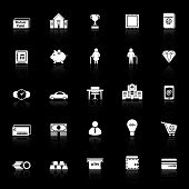 Personal Financial Icons With Reflect On Black Background