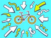 Illustration Of Arrows Point To Icon Of  Sport Bike On Blue Background.