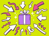 Illustration Of Arrows Point To Icon Of Gift Box On Green Background.