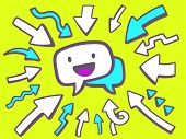 Illustration Of Arrows Point To Icon Of Speech Bubble With Smile On Green Background.