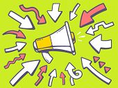 Illustration Of Arrows Point To Icon Of Megaphone On Green Background.