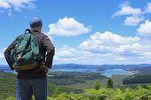 Hiker looking at beautiful ocean views