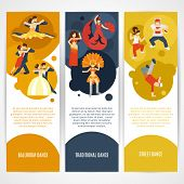image of jive  - Dancing styles flat vertical banner set with ballroom street traditional elements isolated vector illustration - JPG