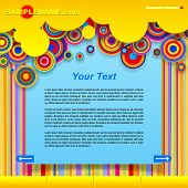 Website design template with multicolored abstract shapes. Vector illustration