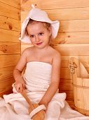 foto of sauna  - Happy with child relaxing at sauna - JPG