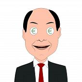 picture of greedy  - Illustration of greedy businessman with euro symbols in eyes - JPG