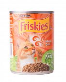 DEPEW, OK, USA - January 19th, 2015: Can of Friskies Mixed Grill cat food. Friskies is a brand owned by Nestle Purina PetCare, St Louis, MO, USA.